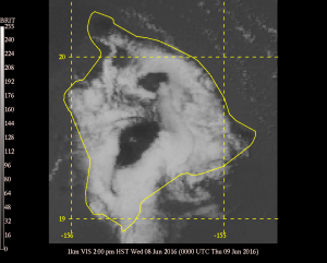Visible satellite image showing clouds across the lower slopes, but clear skies across the summits of Mauna Kea and Mauna Loa. GOES image courtesy of the Mauna Kea Weather Center satellite archive. Click on the image for a full loop from June 8th, 2016.