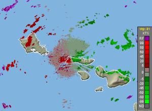 Example of a base velocity image from the Molokai Radar. The transition from green (toward the radar) to red (away from the radar) is representative of the ongoing strong trade winds out of the east-northeast. Image from 10/30/2016.